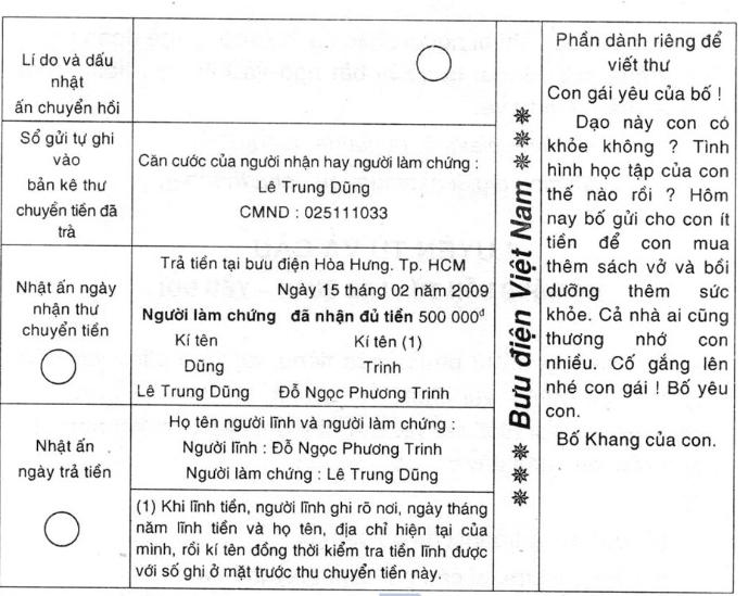 bai 1 trang 152 sgk tieng viet 4 tap 2 - Soạn văn bài Tập làm văn: Điền vào giấy tờ in sẵn